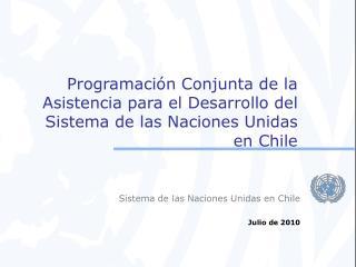 Sistema de las Naciones Unidas en Chile Julio de 2010