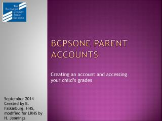 BCPSOne Parent accounts