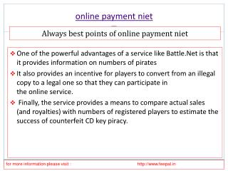 Introducing Necessary Details about online payment niet