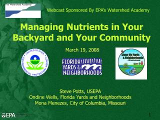 Webcast Sponsored By EPA�s Watershed Academy