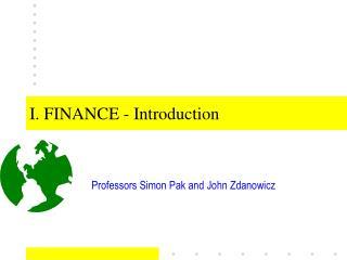 I. FINANCE - Introduction