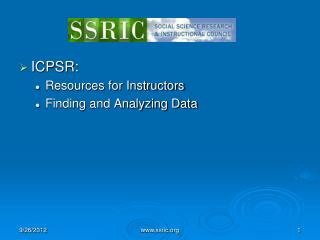 ICPSR:  Resources for Instructors Finding and Analyzing Data