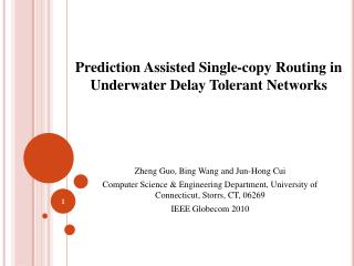 Prediction Assisted Single-copy Routing in Underwater Delay Tolerant Networks
