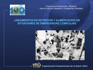 LINEAMIENTOS EN NUTRICION Y ALIMENTACION EN SITUACIONES DE EMERGENCIAS COMPLEJAS