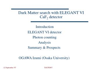 Dark Matter search with ELEGANT VI CaF 2  detector