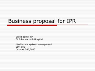 Business proposal for IPR