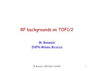 RF backgrounds on TOF1/2