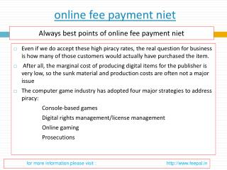 The good reasons for submitted  online fee payment niet