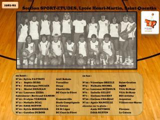 Section SPORT-ETUDES, Lyc e Henri-Martin, Saint-Quentin