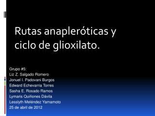 Rutas anapleróticas y  ciclo  de glioxilato.