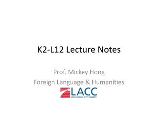 K2-L12 Lecture Notes