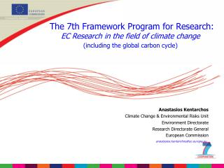 The 7th Framework Program for Research: EC Research in the field of climate change
