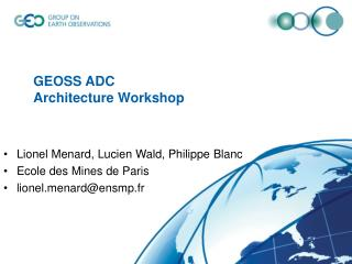 GEOSS ADC  Architecture Workshop