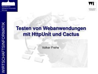 Testen von Webanwendungen mit HttpUnit und Cactus