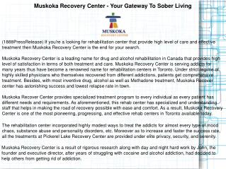 Muskoka Recovery Center - Your Gateway To Sober Living