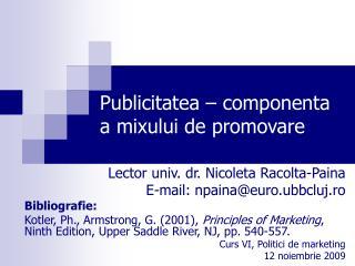 Publicitatea – componenta a mixului de promovare