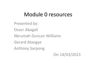 Module 0 resources