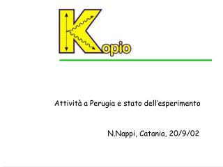 Attività a Perugia e stato dell'esperimento