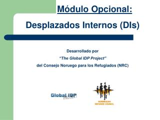 "M ó dulo O pcional : Desplazados Internos (DIs) Desarrollado por ""The Global IDP Project"""