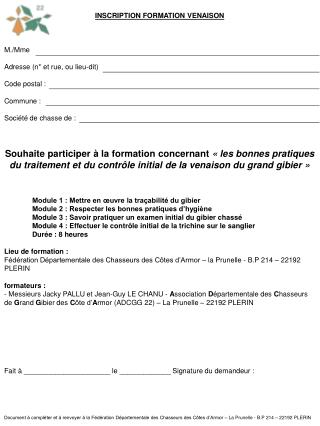 INSCRIPTION FORMATION VENAISON M./Mme