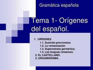 Tema 1- Orígenes del español.