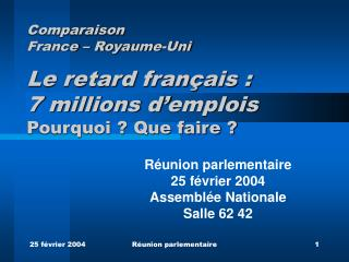Réunion parlementaire 25 février 2004 Assemblée Nationale Salle 62 42