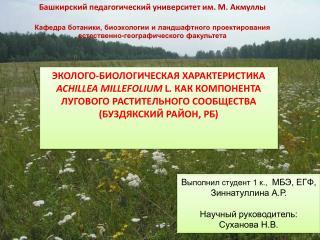 В ыполнил студент 1 к.,   МБЭ, ЕГФ, Зиннатуллина  А.Р . Научный руководитель: Суханова Н.В.