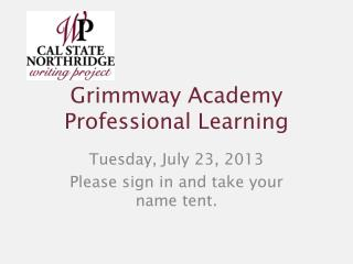 Grimmway Academy Professional Learning