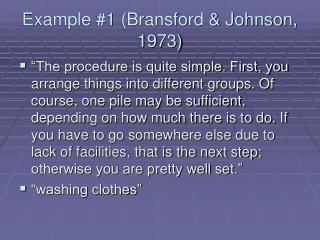 Example 1 Bransford  Johnson, 1973