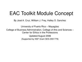 EAC Toolkit Module Concept