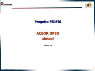 Progetto FEDFIS ACSOR OPEN sintesi Versione  1.0