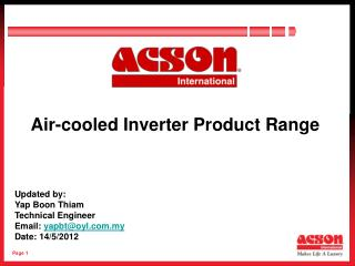 Air-cooled Inverter Product Range