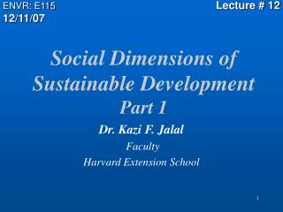 Social Dimensions of Sustainable Development  Part 1