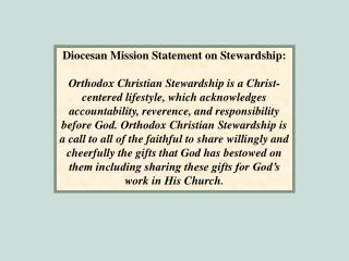 Diocesan Mission Statement on Stewardship: