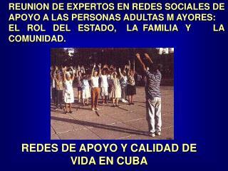 REUNION DE EXPERTOS EN REDES SOCIALES DE APOYO A LAS PERSONAS ADULTAS M AYORES: EL   ROL   DEL   ESTADO,    LA  FAMILIA