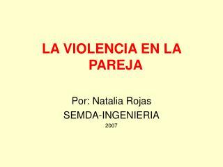 LA VIOLENCIA EN LA PAREJA  Por: Natalia Rojas SEMDA-INGENIERIA 2007