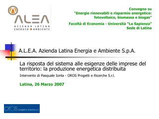 A.L.E.A. Azienda Latina Energia e Ambiente S.p.A.