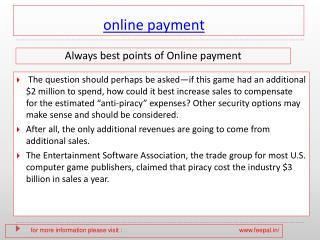 some different type of information related about online  pay