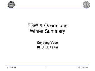 FSW & Operations Winter Summary