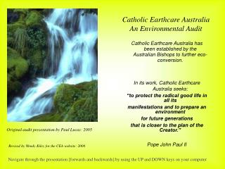 Catholic Earthcare Australia  An Environmental Audit