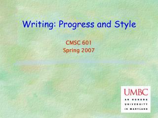 Writing: Progress and Style