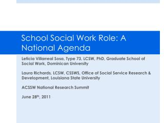 School Social Work Role: A National Agenda