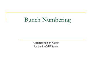 Bunch Numbering