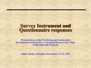 Survey Instrument and Questionnaire responses