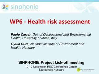 WP6 - Health risk assessment