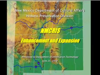 New Mexico Department of Cultural Affairs Historic Preservation Division NMCRIS