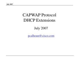 CAPWAP Protocol  DHCP Extensions