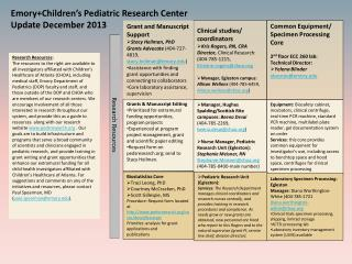 Emory+Children's Pediatric Research Center Update  December  2013