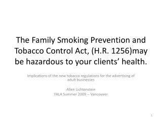 Implications of the new tobacco regulations for the advertising of adult businesses