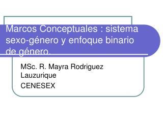 Marcos Conceptuales : sistema sexo-género y enfoque binario de género.